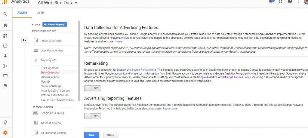 Google Analytics Adverising Tracking Setting